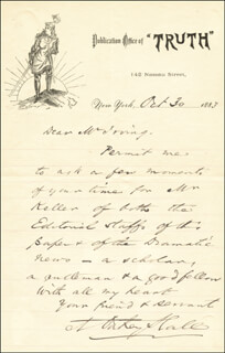 Autographs: A. OAKEY HALL - AUTOGRAPH LETTER SIGNED 10/30/1883