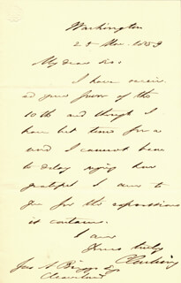 CALEB CUSHING - AUTOGRAPH LETTER SIGNED 03/25/1859
