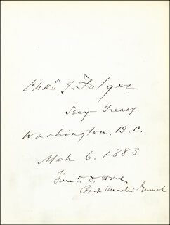 Autographs: CHARLES J. FOLGER - SIGNATURE(S) 03/06/1883 CO-SIGNED BY: TIMOTHY O. HOWE