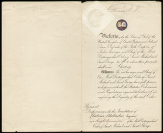 QUEEN VICTORIA (GREAT BRITAIN) - MANUSCRIPT DOCUMENT SIGNED 08/22/1892 CO-SIGNED BY: 1ST MARQUESS OF RIPON (GEORGE F. S. ROBINSON) , ROBERT W. HUBERT