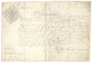 Autographs: QUEEN VICTORIA (GREAT BRITAIN) - MILITARY APPOINTMENT SIGNED 06/08/1844 CO-SIGNED BY: PRIME MINISTER EDWARD (14TH EARL OF DERBY) STANLEY (GREAT BRITAIN)
