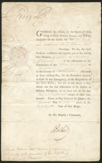 Autographs: KING GEORGE III (GREAT BRITAIN) - MILITARY APPOINTMENT SIGNED 07/20/1798 CO-SIGNED BY: PRIME MINISTER WILLIAM PORTLAND CAVENDISH-BENTINCK (GREAT BRITAIN)