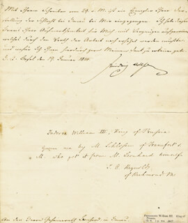 KING FREDERICK WILLIAM III - DOCUMENT SIGNED 01/19/1814