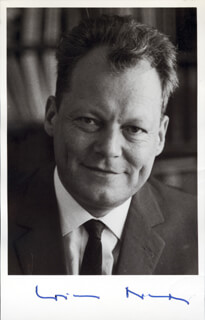 CHANCELLOR WILLY BRANDT (GERMANY) - AUTOGRAPHED SIGNED PHOTOGRAPH  - HFSID 174917