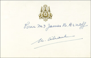 Autographs: KING NORODOM SIHANOUK (CAMBODIA) - PRINTED CARD SIGNED IN INK