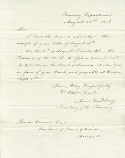 ASSOCIATE JUSTICE LEVI WOODBURY - MANUSCRIPT LETTER SIGNED 08/22/1836