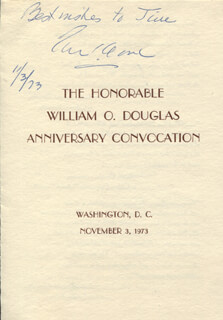 Autographs: ASSOCIATE JUSTICE TOM C. CLARK - INSCRIBED PROGRAM SIGNED 11/03/1973
