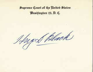 ASSOCIATE JUSTICE HUGO L. BLACK - SUPREME COURT CARD SIGNED