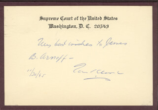 Autographs: ASSOCIATE JUSTICE TOM C. CLARK - AUTOGRAPH NOTE ON SUPREME COURT CARD SIGNED 11/30/1965