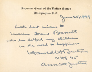 Autographs: ASSOCIATE JUSTICE HAROLD H. BURTON - AUTOGRAPH NOTE ON SUPREME COURT CARD SIGNED 06/25/1949