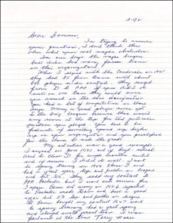 TERRY MOORE - AUTOGRAPH LETTER SIGNED 02/1992