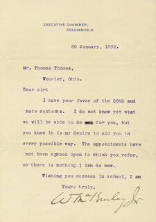 Autographs: PRESIDENT WILLIAM McKINLEY - TYPED LETTER SIGNED 01/30/1892