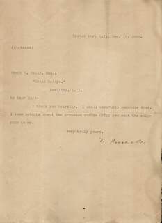 PRESIDENT THEODORE ROOSEVELT - TYPED LETTER SIGNED 12/19/1898