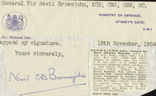 Autographs: GENERAL NEVIL C.D. BROWNJOHN - TYPED LETTER FRAGMENT SIGNED 11/18/1954