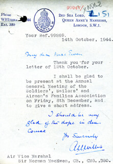 ADMIRAL ALGERNON U. WILLIS - TYPED LETTER SIGNED 10/14/1944