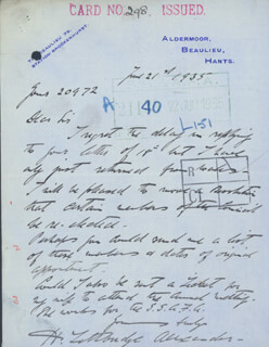 MAJOR GENERAL H. LETHBRIDGE ALEXANDER - AUTOGRAPH LETTER SIGNED 06/21/1935