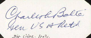GENERAL CHARLES L. BOLTE - AUTOGRAPH