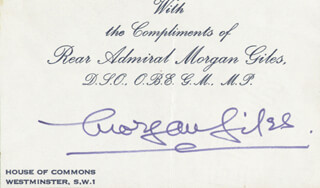 Autographs: REAR ADMIRAL MORGAN GILES - PRINTED CARD SIGNED IN INK