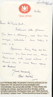 LORD JOHN PETER HILL-NORTON - AUTOGRAPH LETTER SIGNED 02/10