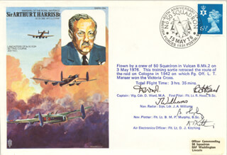 NO. 50 SQUADRON RAF - COMMEMORATIVE ENVELOPE SIGNED CO-SIGNED BY: D. WARD, R. HEAD, J. A. WILLIAMS, B. M. P. MURPHY, D. J. KITCHING