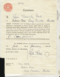 Autographs: EDGAR THORNILEY DALE - DOCUMENT DOUBLE SIGNED 01/01/1946 CO-SIGNED BY: ELSIE DALE