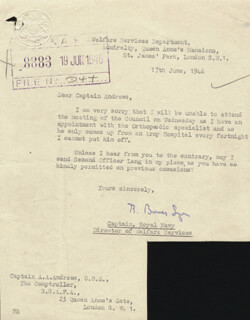 Autographs: CAPTAIN RONALD GEORGE BOWES-LYON - TYPED LETTER SIGNED 06/17/1946