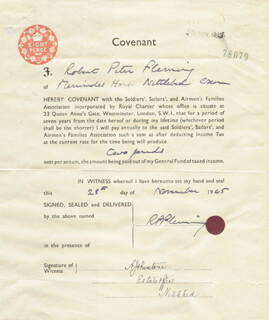 Autographs: ROBERT PETER FLEMING - DOCUMENT DOUBLE SIGNED 11/28/1945