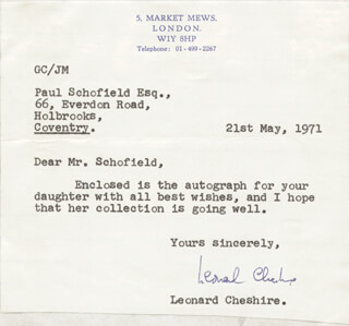 CAPTAIN G. LEONARD CHESHIRE - TYPED LETTER SIGNED 05/21/1971