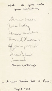 Autographs: THE BRAINS TRUST TV CAST - BOOK PAGE SIGNED 08/1942 CO-SIGNED BY: DONALD McCOLLOUGH, HOWARD THOMAS, BERNARD DARWIN, HOWARD MARSHALL, COMMANDER ARCHIBALD BRUCE A. B. CAMPBELL, SIR JULIAN S. HUXLEY