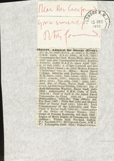 Autographs: ADMIRAL OF THE FLEET GEORGE ELVEY CREASY - AUTOGRAPH NOTE SIGNED