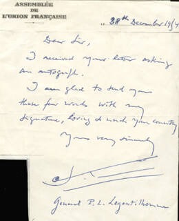 PAUL LOUIS LEGENTILHOMME - AUTOGRAPH LETTER SIGNED 12/28/1954