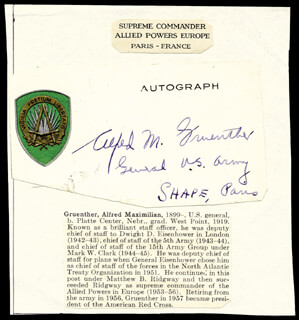 GENERAL ALFRED M. GRUENTHER - PRINTED CARD SIGNED IN INK