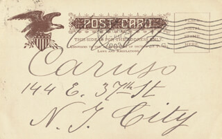 ENRICO CARUSO - PICTURE POST CARD SIGNED CIRCA 1903