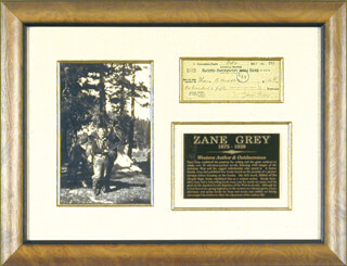 ZANE GREY - AUTOGRAPHED SIGNED CHECK 02/06/1928