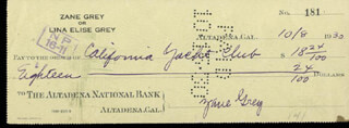 ZANE GREY - AUTOGRAPHED SIGNED CHECK 10/08/1930