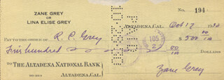 ZANE GREY - AUTOGRAPHED SIGNED CHECK 10/17/1930