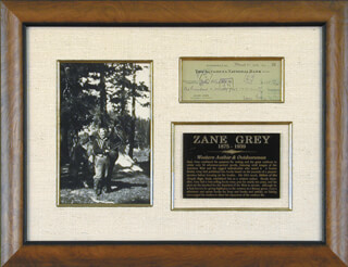 ZANE GREY - AUTOGRAPHED SIGNED CHECK 03/25/1931