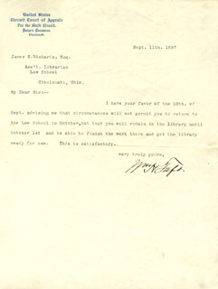 PRESIDENT WILLIAM H. TAFT - TYPED LETTER SIGNED 09/11/1897