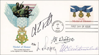 Autographs: BRIGADIER GENERAL JAMES H. JIMMY DOOLITTLE - FIRST DAY COVER SIGNED CO-SIGNED BY: GENERAL COLIN L. POWELL, GENERAL MATTHEW B. RIDGWAY, GENERAL WILLIAM C. WESTMORELAND