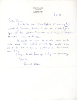 EDWARD ALBEE - AUTOGRAPH LETTER SIGNED 06/25/1986