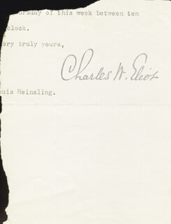CHARLES W. ELIOT - TYPED LETTER FRAGMENT SIGNED