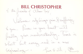 WILLIAM CHRISTOPHER - AUTOGRAPH LETTER SIGNED