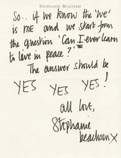 STEPHANIE BEACHAM - AUTOGRAPH LETTER SIGNED