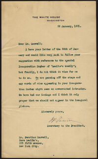 JOSEPH P. TUMULTY - TYPED LETTER SIGNED 01/26/1921