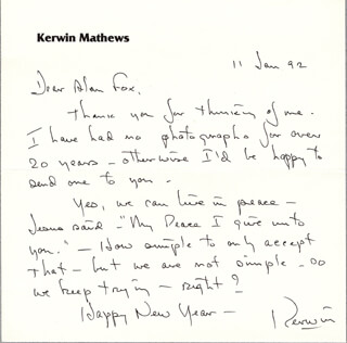 KERWIN MATHEWS - AUTOGRAPH LETTER SIGNED 01/11/1992