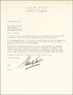 FRANK BRING 'EM BACK ALIVE BUCK - TYPED LETTER SIGNED 02/26/1946