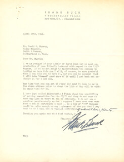 Autographs: FRANK BRING 'EM BACK ALIVE BUCK - TYPED LETTER SIGNED 04/25/1946