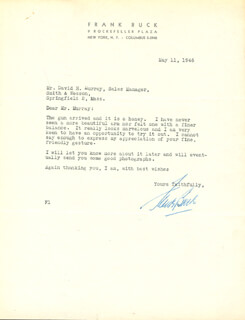 Autographs: FRANK BRING 'EM BACK ALIVE BUCK - TYPED LETTER SIGNED 05/11/1946