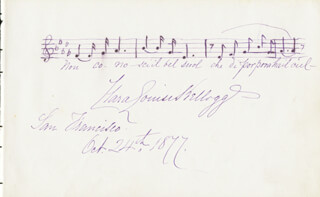 CLARA LOUISE KELLOGG - AUTOGRAPH MUSICAL QUOTATION SIGNED 10/24/1877