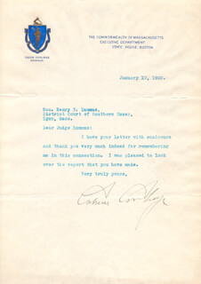 Autographs: PRESIDENT CALVIN COOLIDGE - TYPED LETTER SIGNED 01/10/1920